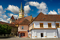 The Fortified Saxon Church of Medias started in 1438, with the 68 mt high Gothic trumpeters tower of St Margret church. Medias was the largest fortified Saxon Church complex of its time with double walls & a moat. Transylvania.