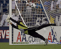 Puebla FC goalkeeper Edgar Hernandez (1) in penalty kicks after game ended tied at 1-1. The New England Revolution defeated Puebla FC in penalty kicks, in SuperLiga 2010 semifinal at Gillette Stadium on August 4, 2010.