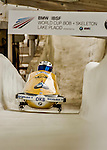 8 January 2016: Anja Schneiderheinze, piloting her 2-man bobsled for Germany, enters the Chicane straightaway on her second run, ending the day with a combined 2-run time of 1:54.49 and earning a 5th place finish at the BMW IBSF World Cup Championships at the Olympic Sports Track in Lake Placid, New York, USA. Mandatory Credit: Ed Wolfstein Photo *** RAW (NEF) Image File Available ***
