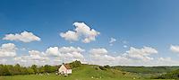 Walberla hill and Walpurgis Chapel on spring day, Franconia, Bavaria, Germany