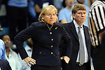 03 February 2013: UNC head coach Sylvia Hatchell, with 899 career wins coming into the game, with associate head coach Andrew Calder (right). The University of North Carolina Tar Heels played the Duke University Blue Devils at Carmichael Arena in Chapel Hill, North Carolina in an NCAA Division I Women's Basketball game.