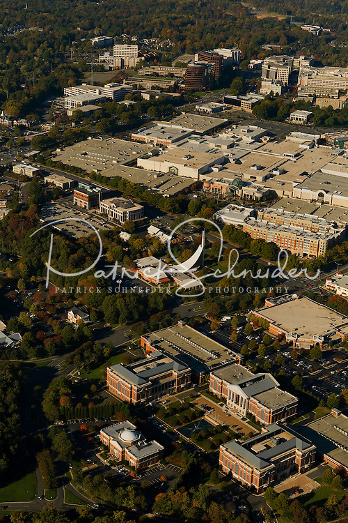 Aerial view of Charlotte's SouthPark area, including SouthPark mall.