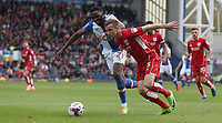 Blackburn Rovers' Hope Akpan battles with Bristol City's Joe Bryan<br /> <br /> Photographer Stephen White/CameraSport<br /> <br /> The EFL Sky Bet Championship - Blackburn Rovers v Bristol City - Monday 17th April 2017 - Ewood Park - Blackburn<br /> <br /> World Copyright &copy; 2017 CameraSport. All rights reserved. 43 Linden Ave. Countesthorpe. Leicester. England. LE8 5PG - Tel: +44 (0) 116 277 4147 - admin@camerasport.com - www.camerasport.com