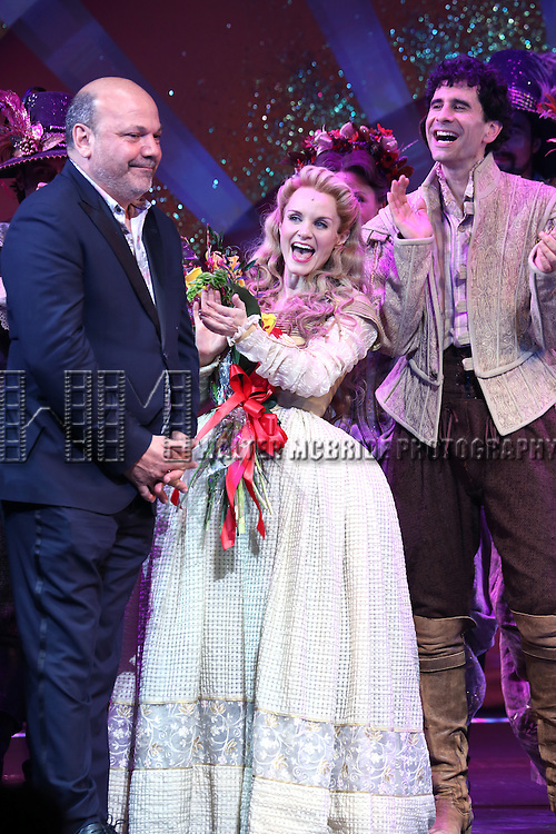 Casey Nicholaw, Kate Reinders and  John Cariani during the Broadway Opening Night Curtain Call for 'Something Rotten' at the St. James Theatre on April 22, 2015 in New York City.