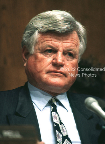 "Washington, DC - (FILE) -- United States Senator Edward M. ""Ted"" Kennedy (Democrat of Massachusetts) chairs the confirmation hearing for Robert Reich to be Secretary of Labor on January 7, 1993..Credit: Ron Sachs / CNP"