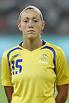 12 August 2008: Therese Sjogran (SWE).  The women's Olympic team of Sweden defeated the women's Olympic soccer team of Canada 2-1 at Beijing Workers' Stadium in Beijing, China in a Group E round-robin match in the Women's Olympic Football competition.