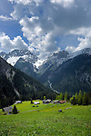 View of hamlet and sheep pastures. Close to Bschlabs Hahntennjoch pass. Imst district, Tyrol, Tirol, Austria.