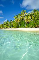 A view of Amuri Beach from the ocean, Aitutaki Island, Cook Islands.