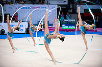 September 12, 2015 - Stuttgart, Germany - USA rhythmic group performs in All Around at 2015 World Championships to win place as continental representative for the Americas at Rio 2016 Olympics.