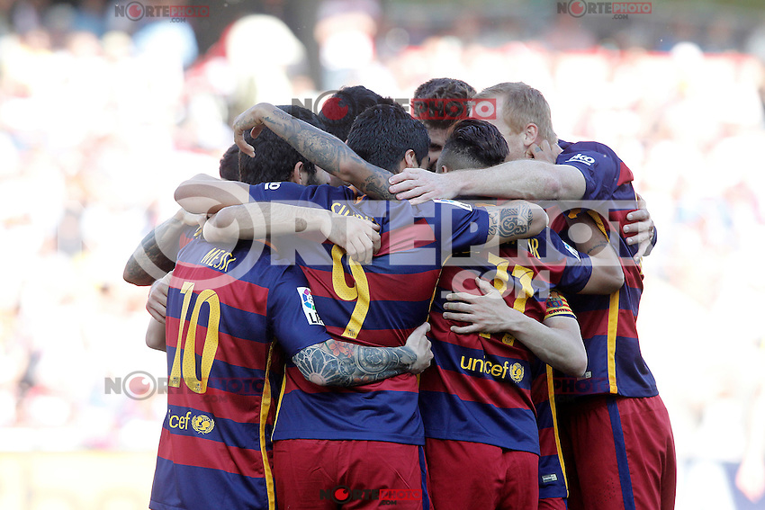 FC Barcelona's players celebrate goal during La Liga match. May 14,2016. (ALTERPHOTOS/Acero) /NortePhoto.com