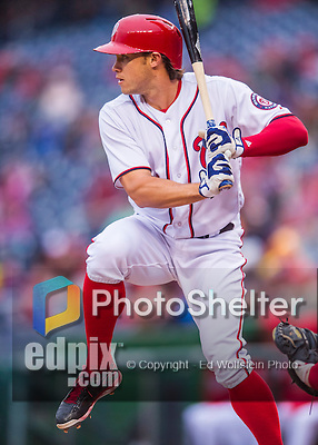 28 April 2016: Washington Nationals outfielder Matt den Dekker in action against the Philadelphia Phillies at Nationals Park in Washington, DC. The Phillies shut out the Nationals 3-0 to sweep their mid-week, 3-game series. Mandatory Credit: Ed Wolfstein Photo *** RAW (NEF) Image File Available ***