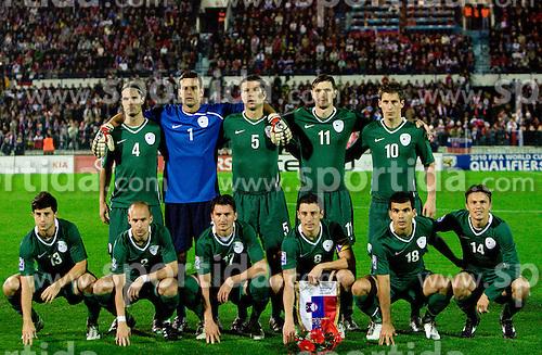 Team of Slovenia (1st line from L: Bojan Jokic, Miso Brecko, Andraz Kirm, Robert Koren, Aleksander Radosavljevic and Zlatko Dedic, 2nd line: Marko Suler, Samir Handanovic, Bostjan Cesar, Milivoje Novakovic and Valter Birsa)  at  the 2010 FIFA World Cup South Africa Qualifying match between Slovakia and Slovenia, on October 10, 2009, Tehelne Pole Stadium, Bratislava, Slovakia. Slovenia won 2:0. (Photo by Vid Ponikvar / Sportida)
