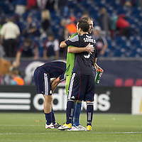 New England Revolution defender A.J. Soares (5) at end of match. In a Major League Soccer (MLS) match, the Seattle Sounders FC defeated the New England Revolution, 2-1, at Gillette Stadium on October 1, 2011.