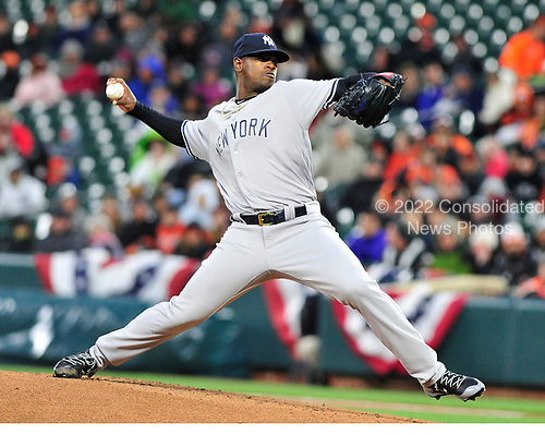 New York Yankees starting pitcher Luis Severino (40) works in the first inning against the Baltimore Orioles at Oriole Park at Camden Yards in Baltimore, MD on Friday, April 7, 2017.<br /> Credit: Ron Sachs / CNP<br /> (RESTRICTION: NO New York or New Jersey Newspapers or newspapers within a 75 mile radius of New York City)