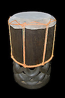 historic Hawaiian ceremonial drum made with tough shark skin head and traditional, endemic koa wood, Acacia koa, Hawaii