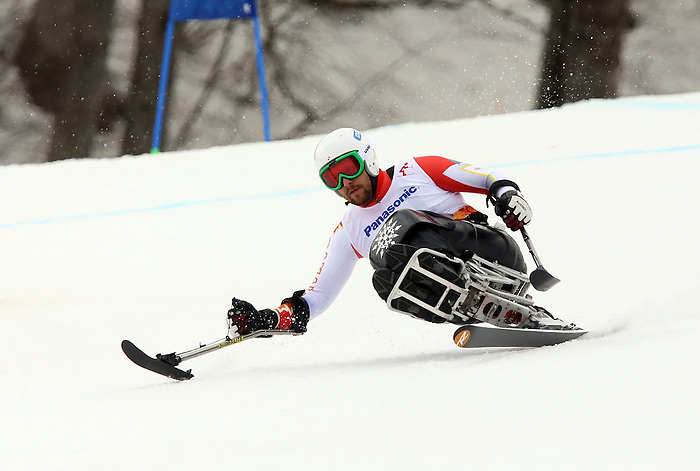Sochi, Russia,09/03/2014. Canadian Kurt Oatway competes in the men's Super G, sitting skiing at the 2014 Paralympic Winter Games in Sochi, Russia.(Photo:Scott Grant/Canadian Paralympic Committee)
