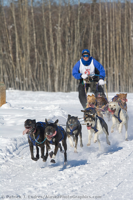 Musher Ed Streeper, 2007 Open North American Championship sled dog race (the world's premiere sled dog sprint race) is held annually in Fairbanks, Alaska.