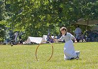 Camp follower reenactor, Revolutionary War, Monmouth Battlefield State Park, New Jersey
