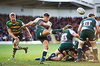 Ben Youngs of Leicester Tigers box-kicks the ball. Aviva Premiership match, between Northampton Saints and Leicester Tigers on April 16, 2016 at Franklin's Gardens in Northampton, England. Photo by: Patrick Khachfe / JMP