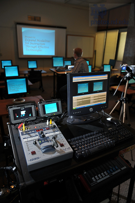 "Web streaming equipment for Access Newsletter story, ""From Manuscript to Microphone: Granting a Web-Streaming Wish.""..Photo by Matt Cashore/University of Notre Dame"