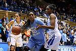 24 January 2016: North Carolina's Hillary Summers (left) and Duke's Amber Henson (right). The Duke University Blue Devils hosted the University of North Carolina Tar Heels at Cameron Indoor Stadium in Durham, North Carolina in a 2015-16 NCAA Division I Women's Basketball game. Duke won the game 71-55.