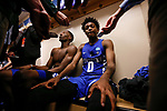 Kentucky Wildcats guard De'Aaron Fox and forward Bam Adebayo answer questions from the media after the 75-73 loss to the North Carolina Tar Heels during the 2017 NCAA Men's Basketball Tournament South Regional Elite 8 at FedExForum in Memphis, TN on Friday March 24, 2017. Photo by Michael Reaves | Staff