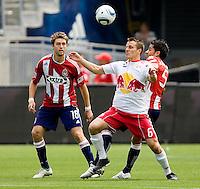 NY RedBulls midfielder Seth Stammler (6) battles Chivas USA midfielder Marcelo Saragosa (5). Chivas USA defeated the Red Bulls of New York 2-0 at Home Depot Center stadium in Carson, California April 10, 2010.  .