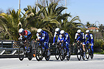 Quick-Step Floors team practice before the 1st stage of the race of the two seas, 52nd Tirreno-Adriatico by NamedSport a 22.7km Team Time Trial at Lido di Camaiore, Italy. 8th March 2017.<br /> Picture: La Presse/Fabio Ferrari | Cyclefile<br /> <br /> <br /> All photos usage must carry mandatory copyright credit (&copy; Cyclefile | La Presse)
