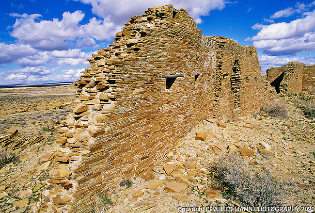 Penasco blanco is one of several specific ruin sites that are part of the overall complex of ruins within the main boundary of the Chaco Culture National Historical Park.