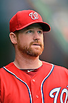 2 September 2012: Washington Nationals' first baseman Chad Tracy prepares to face the visiting St. Louis Cardinals at Nationals Park in Washington, DC. The Nationals edged out the Cardinals 4-3, capping their 4-game series with three wins. Mandatory Credit: Ed Wolfstein Photo