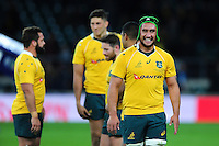 Leroy Houston of Australia is all smiles after the match. The Rugby Championship match between Argentina and Australia on October 8, 2016 at Twickenham Stadium in London, England. Photo by: Patrick Khachfe / Onside Images