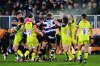 Tempers flare between the two sets of forwards. Anglo-Welsh Cup match, between Bath Rugby and Leicester Tigers on November 4, 2016 at the Recreation Ground in Bath, England. Photo by: Patrick Khachfe / Onside Images