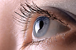 Closeup of a blue woman's eye