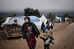 SYRIA, ATMEH. Camp for displaced Syrians in Atmeh on January 12, 2013. The camp is on the border with Turkey and is providing shelter to nearly 13,000 people. ALESSIO ROMENZI