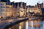 Facades on Leie Canal, Ghent; Belgium; Europe