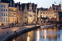 Facades on Leie Canal, Ghent; Belgium; Europe
