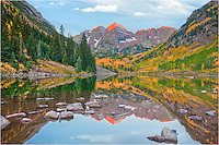 The Maroon Bells get crowded when the Aspen turn gold each Autumn. Sunrise brings photographers from all over to create their own take of this Colorado image. It really is an iconic view, and it is the most photographed mountain in Colorado!