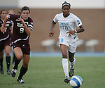 07 September 2007: North Carolina's Ariel Harris (10) and Texas A&M's Melissa Garey (9). The University of North Carolina Tar Heels defeated the Texas A&M University Aggies 2-1 at Fetzer Field in Chapel Hill, North Carolina in an NCAA Division I Women's Soccer game, and part of the annual Nike Carolina Classic tournament.