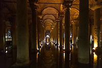 Columns vaults at Yerebatan Basilica Cistern (Sunken Palace), subterranean water system underground Istanbul, Republic of Turkey