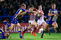 Picture by Alex Whitehead/SWpix.com - 09/03/2017 - Rugby League - Betfred Super League - Warrington Wolves v Wigan Warriors - Halliwell Jones Stadium, Warrington, England - Wigan's Morgan Escare is tackled by Warrington's Kevin Brown.