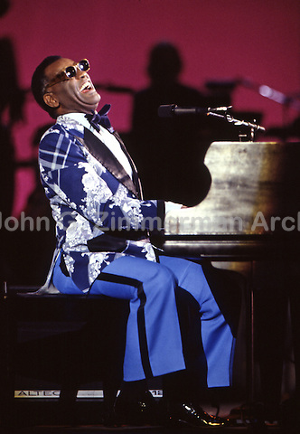 Ray Charles performing at the MGM Grand, Las Vegas, 1974. Photo by John G. Zimmerman.