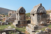 Lycian tombs at Tepecik Necropolis on Tepecik Hill, with the Arch of Mettius Modestus in the distance, Patara, Antalya, Turkey. The necropolis sits on a Neolithic mound dating to the 7th century BC and contains a whole range of tomb types dating from the 5th century BC, including temple tombs, monumental tombs, temenos tombs, U-shaped altar tombs, chamber tombs, rock-cut tombs, underground chamber tombs, pithos burials, simple burials and sarcophagi. The triple-vaulted triumphal Arch of Mettius Modestus is composed of 4 massive piers connected by 3 arches. It functioned as the final part of the aqueduct built by Trebonius Proculus Mettius Modestus, governor under the emperor Trajan. Patara was a maritime Greek and Roman city on the South West Mediterranean coast of Lycia near modern-day Gelemis. It was said to be founded by Patarus, son of Apollo, and was famous for its temple and oracle of Apollo. It was a leading city of the Lycian League. Picture by Manuel Cohen