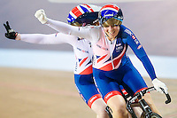 Picture by Alex Whitehead/SWpix.com - 05/03/2017 - Cycling - UCI Para-cycling Track World Championships - Velo Sports Center, Los Angeles, USA - Great Britain's Sophie Thornhill (piloted by Corrine Hall) celebrate winning the Women's Sprint final.
