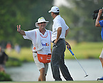Caddie Marcel LeBas congratulates golfer Harrison Frazar upon winning the PGA FedEx St. Jude Classic at TPC Southwind in Memphis, Tenn. on Sunday, June 12, 2011. Harrison Frazar won the tournament on the third playoff hole against Robert Karlsson. The victory was Frazar's first ever on the PGA tour.