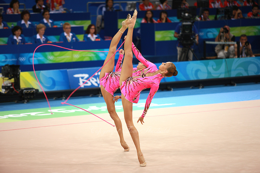 August 24, 2008; Beijing, China; Rhythmic group from Russia performs 5-ropes routine on way to taking gold in the group All-Around final at 2008 Beijing Olympics..(©) Copyright 2008 Tom Theobald