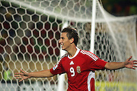 Hungary's  Krisztian Nemeth (9) celebrates after making a goal against Italy during the FIFA Under 20 World Cup Quarter-final match at the Mubarak Stadium  in Suez, Egypt, on October 09, 2009. Hungary won 2-3 in overtime.
