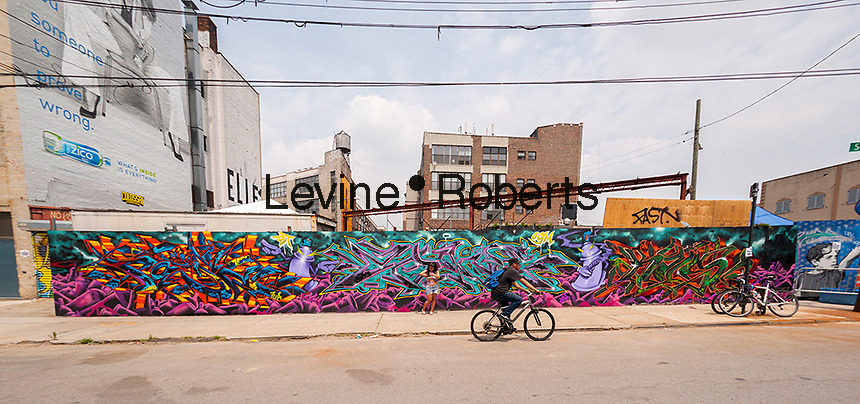 "Bushwick, Brooklyn in New York during the annual Bushwick Collective Block Party on Saturday, June 4, 2016. Music and partying brought some but the real attraction was the new murals  by ""graffiti"" artists that decorate the walls of the buildings that the collective uses.  (© Richard B. Levine)"