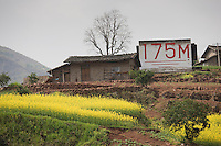 Depth sign shows 175 metres, the proposed water level when Three Gorges dam project is completed, China