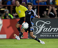 Santa Clara, California - Saturday July 14, 2012: San Jose Earthquakes' Shea Salinas kicks the ball for an assist during a game against Real Salt Lake at Buck Shaw Stadium, Stanford, Ca     San Jose Earthquakes defeated Real Salt Lake 5 - 0.