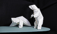 Two polar bears origami designed and folded by Bernie Peyton, California, USA.